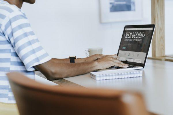 Web designer on computer